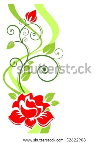 Stylized roses and strips pattern on a white background.