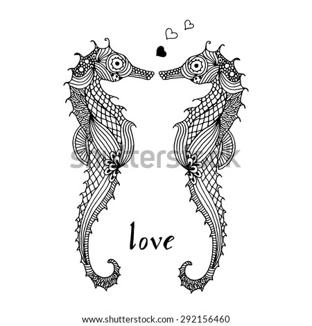 Stylized sea horses in Love on simple white background - stock vector