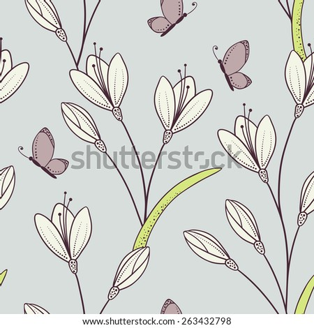 Stylized seamless pattern with flowers and butterfly. Spring background in vector - stock vector