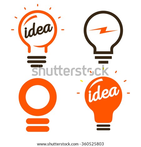 Stylized set of vector lightbulbs. Collection colorful logotypes. New idea symbols. Flat bright cartoon bulbs. White and orange colors. Orange sign. Idea icon. Circle logo.