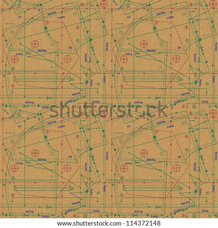 Stylized sewing pattern on paper textured background 2 - stock vector
