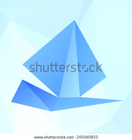 Stylized ship of triangular polygons, vector illustration.