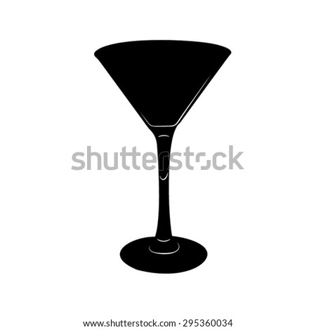 Stylized silhouette of Martini glass illustration in black and white