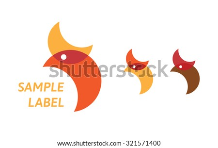 Stylized, simple chicken logo - stock vector