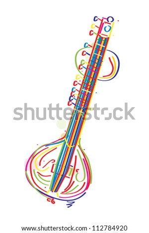 Stylized sitar instrument against white background