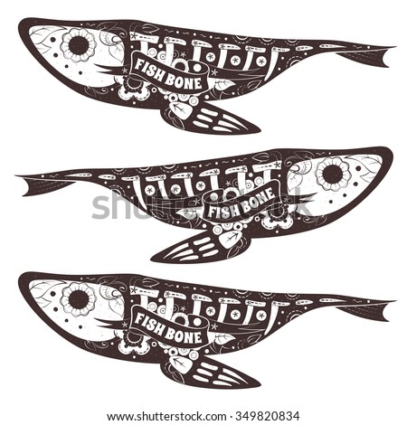 Stylized skeleton Fish. Vector Floral Fish. Vector illustration