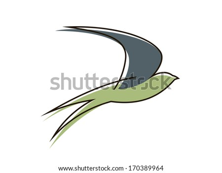Stylized sketch of the silhouette of a graceful flying swallow bird with outstretched wings, also as a logo idea. Bitmap (jpeg) version also available in gallery - stock vector
