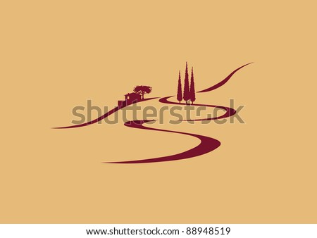 stylized southern european landscape - stock vector