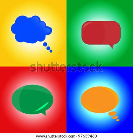 Stylized speaking bubbles on different colored backgrounds