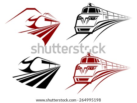 Stylized speeding train or subway icons receding perspective in two color variation - stock vector