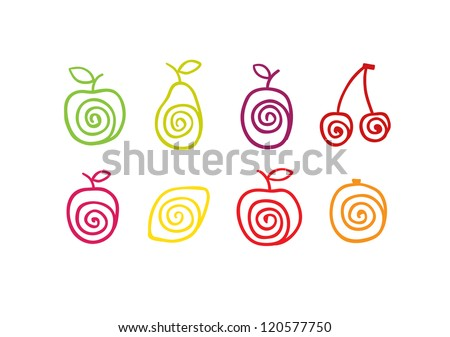 Stylized swirly fruits icons. Vector illustration - stock vector