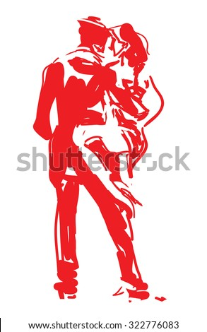 Stylized Tango Dancers in Red