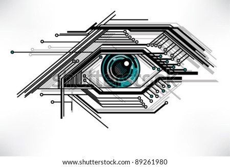 stylized technology eye - stock vector