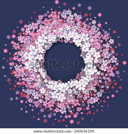 Stylized tender spring pink flowers round frame. Abstract floral background. Spring abstract vector background. Pink and white spring flowers. Paper spring design.  - stock vector