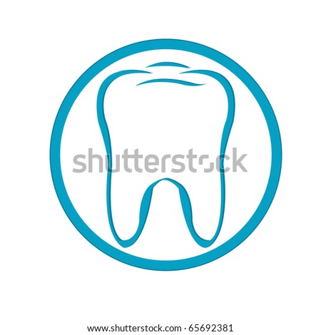 Stylized Tooth In Circle, Isolated On White Background, Vector Illustration - stock vector