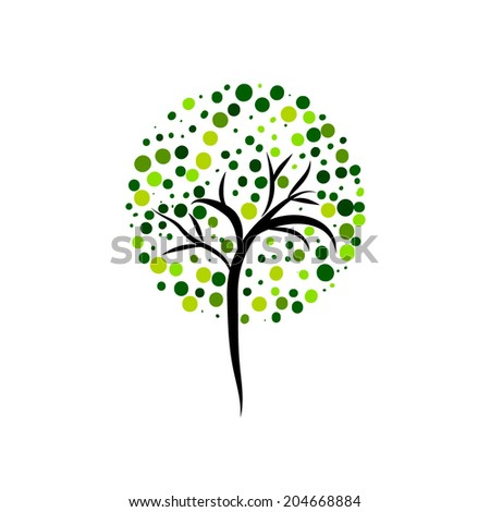 stylized tree of circles. Vector  - stock vector