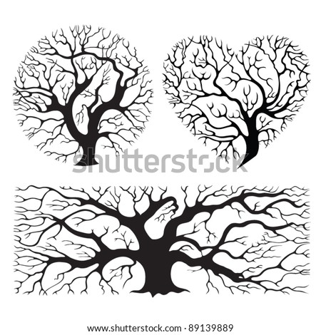 Stylized tree silhouettes - stock vector