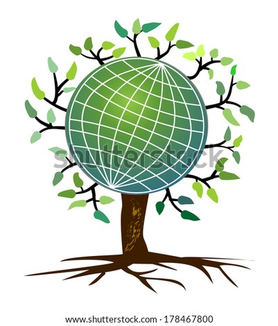 stylized tree with a globe in treetop  - stock vector