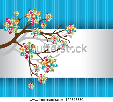 Stylized Tree with Colorful Blossoms on White and Blue Striped Background Vector Illustration - stock vector