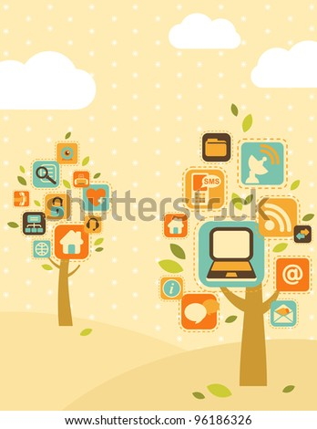 Stylized trees, consisting of computer icons - stock vector