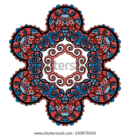 Stylized tribal mandala, circle decorative spiritual indian symbol of lotus flower, round ornament pattern, vector illustration over white background with red and blue color. - stock vector