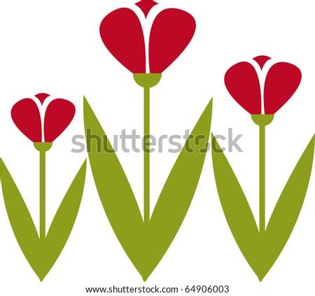 stylized tulip vector - stock vector