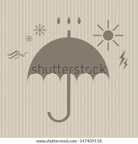 stylized umbrella silhouette surrounded by the forces of nature icons on the seamless striped vintage background vector - stock vector