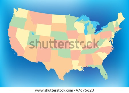 Stylized USA Map - stock vector