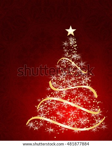stylized vector Christmas tree on decorative background