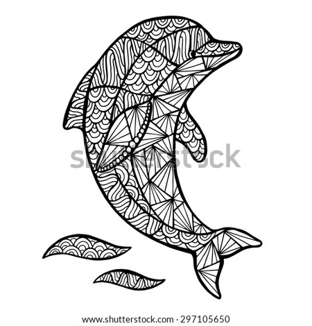 stylized vector decoration zen tangle dolphin isolated on white background stock vector