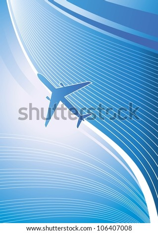Stylized vector illustration. Airplane on blue background with white lines. Isolated design element. Airliner, jet. - stock vector