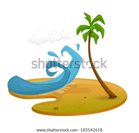 Stylized vector illustration of a beach