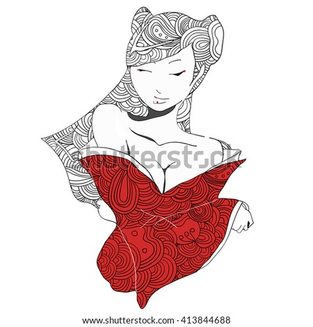 stylized vector illustration of a beautiful geisha girl in red clothes. Japanese girl. Zentangle. Doodle style. Can be used as adult coloring book, coloring page, card. - stock vector