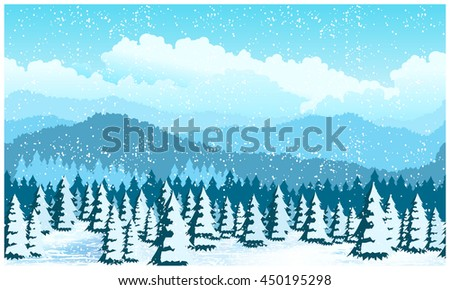Stylized vector illustration of a picturesque forest in winter. Illustration seamless horizontally, if necessary