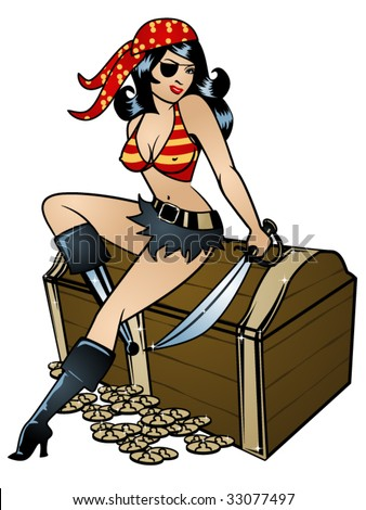 stylized vector illustration of a sexy pinup dressed as a pirate in colour - stock vector