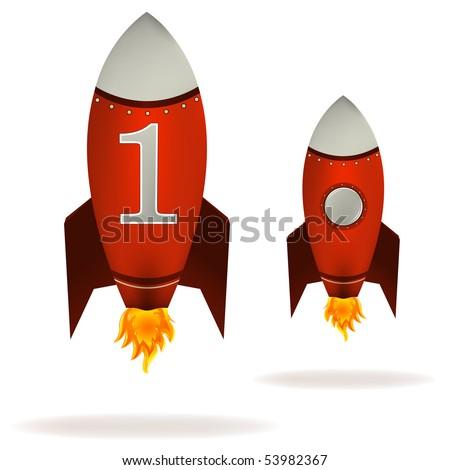 Stylized vector illustration of a starting retro rocket ship - stock vector