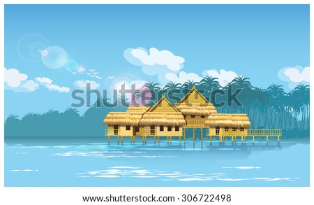 Stylized vector illustration of a village on a river in the jungle. seamless horizontally if needed. - stock vector