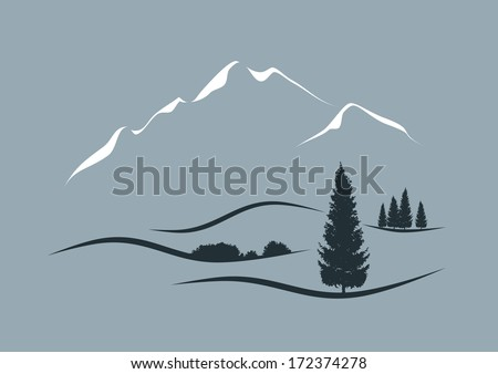 stylized vector illustration of an alpine landscape - stock vector