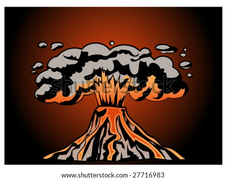 stylized vector illustration of an erupting volcano - stock vector