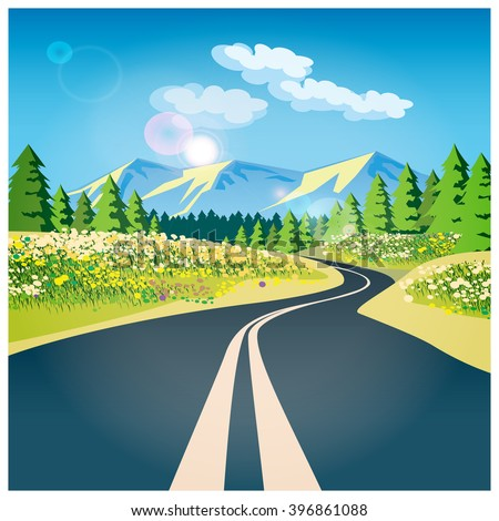 Stylized vector illustration on the theme of adventure and Journey. The road through the field in the mountains