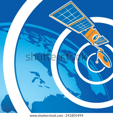Stylized vector illustration on the theme of communications, broadcasting and navigation. telecommunications satellite to orbit the earth. - stock vector