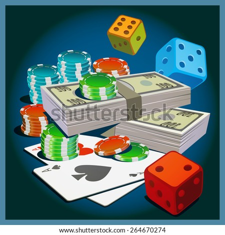 Stylized vector illustration on the theme of gambling, money, wealth, fortune. - stock vector
