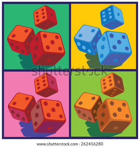 stylized vector illustration on the theme of gambling. several variants of color solution dice in pop art style - stock vector