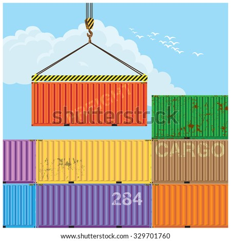 Stylized vector illustration on the theme of logistics and transport. Container handling - stock vector