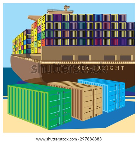 Stylized vector illustration on the theme of marine transportation and logistics