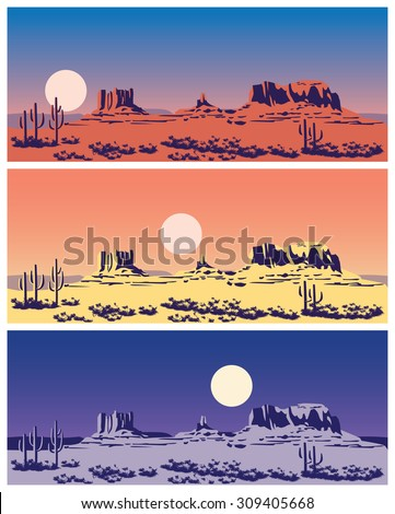 Stylized vector illustration on the theme of the Wild West, the great canyon, mountains and deserts. seamless horizontally if needed - stock vector