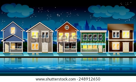 stylized vector illustration seamless horizontally on the theme comfortable cottages suburb at night. - stock vector