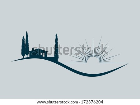 stylized vector illustration with a holiday home by the sea - stock vector
