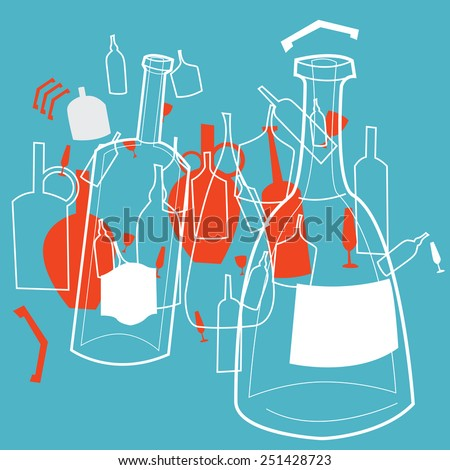 Stylized vector illustration with bottles for holiday party drinks.
