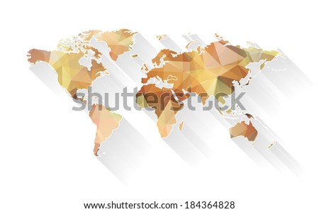 Stylized vector map of world with trendy triangles design. EPS 10 vector illustration - stock vector